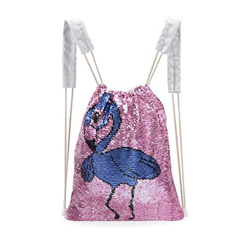 Leegleri Pailletten-Rucksack mit Einhorn, Pailletten und Kordelzug, umkehrbar, glitzernde Pailletten für Mädchen, Kinder, Frauen, Einhorn, Geburtstagsgeschenk, Damen, Flamingo
