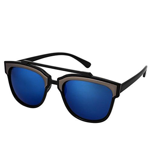 Silver Kartz Stylish Blue Mercury Gun_Metal Bar Wayfarer Sunglasses (wy212)  available at amazon for Rs.149