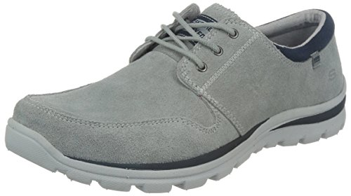 Skechers Homens Xallow Superiores Sapatos De Camurça Cinza