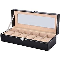 HooAMI Hochwertiger Uhrenkoffer Uhrenbox Uhrenkasten Schaukästen Lederetui Schwarz mit Glasfenster (Für 6 Uhren)
