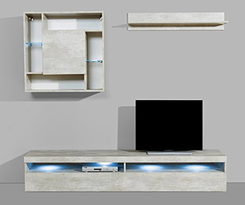 Wohnwand Anbauwand mit Lowboard 3-teilig 543687 betonfarben - 2