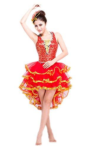 eiten Damen Ärmellos Jazz Latein Dance Kleid mit Pailletten Rot L (Tanzabend Ballett Kostüme)