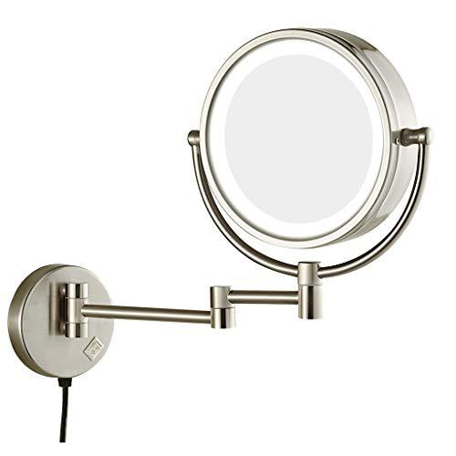 Wand- Schminkspiegel 8-Zoll-LED-Kosmetikspiegel 5-fache Vergrößerung Vernickelter Kosmetikspiegel 360 Grad Drehbarer Kosmetikspiegel Zur Wandmontage ( Color : Nickel plating , Size : 8 inches 5 X ) - Make-up-spiegel Gebürstetem Nickel