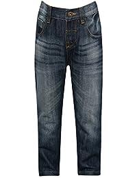 M&Co Boys Cotton Blend Mid Wash Full Length Adjustable Waist Slim Denim Jeans