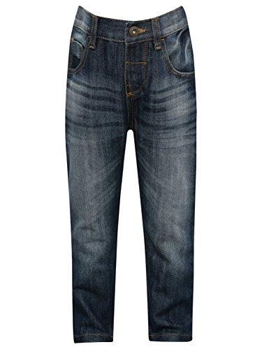 M&Co Boys Cotton Blend Mid Wash Full Length Adjustable Waist Slim Denim Jeans Mid Wash 7/8 Yr