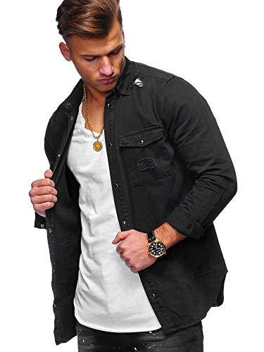Kragen-denim-hemd (behype. Herren Langarm Destroyed Jeans-Hemd Denim Freizeit-Hemd Shirt 90-8715 Schwarz L)