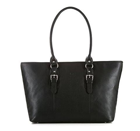 WITTCHEN Damen Shopper Damentasche, 27x37x13 cm, Schwarz, Leder, Echtleder, Handmade, 83-4E-911-1