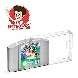 10 Klarsicht Schutzhüllen für Nintendo 64 Game Module Carts – Passgenau und Glasklar – PET – Retro-Doc Game Protectors – N64 Modul – Extra Laschen – Extra Schutzfolie – N64 Spielemodule