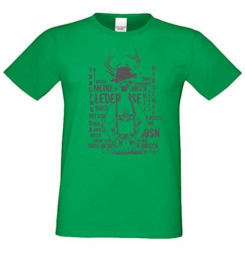 Meine Lederhose ... Sprüche-Fun-Hirsch-T-Shirt für Herren Freizeit Volksfest Oktoberfest Tracht Outfit - Geschenk Männer Farbe: hellgrün Hellgrün