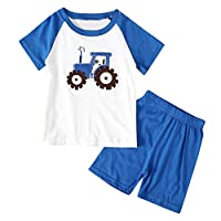 🌸Hot!!Toddler Kids Boys Cartoon Car Print T-shirt Tops+Shorts Pajamas Outfits MS-SM Infant Baby Cute Fashion Short Sleeve O-neck 2Pcs for 1Y-7Y (Blue, 6-7 Years)