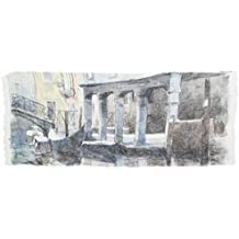 Foulard in cotone impreziosito da stampa fedele dell'acquerello Venezia - Rio Priuli dell'artista Nicola Tenderini. Prodotto artigianale, Made in Italy
