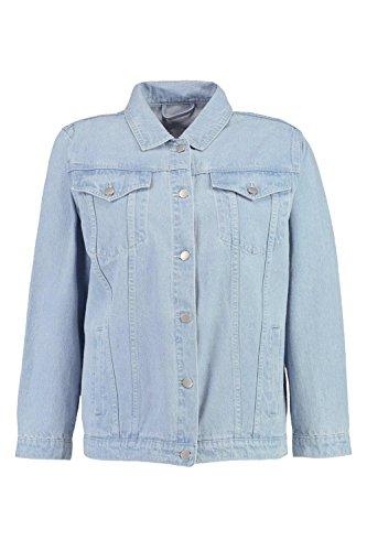 Damen Blau Plus Violet Bestickte Jacke Aus Denim Mit Münzen - 22 (Womens Duster Bestickte)