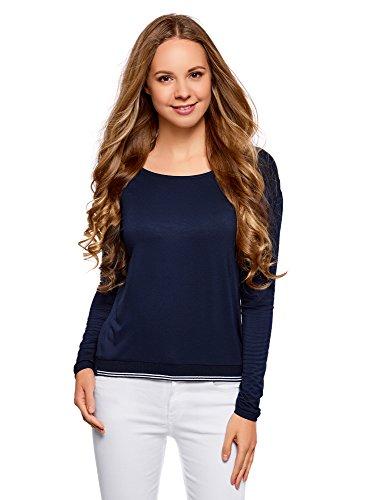 oodji Ultra Donna T-Shirt in Viscosa con Maniche Lunghe Blu (7900N)