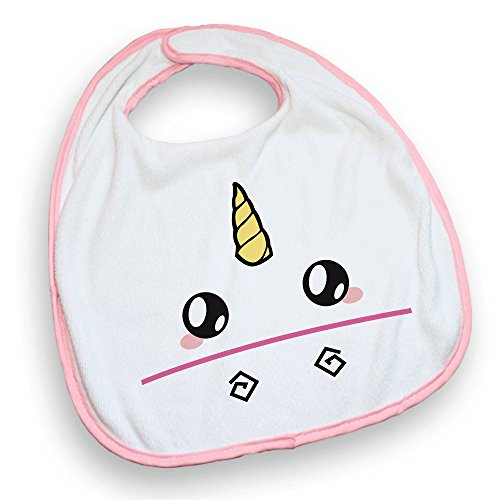 Bavoir rose Face de Licorne kawaii - Fabriqué en France - Chamalow Shop