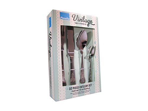 Amefa Vintage Kings 32 Piece 8 Person Cutlery Set - Gift Boxed