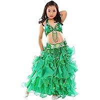Calcifer - Disfraz de Danza del Vientre para niños (3 Piezas, cinturón, Falda), Verde Oscuro