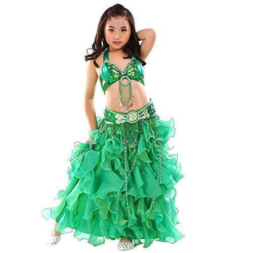Calcifer Kinder Bauchtanz-Kostüm, 3-teiliges Set, BH, Gürtel und Rock, ()