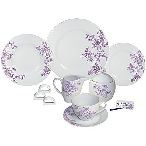 ARTE VIVA 1143140 - Juego de café y vajilla de porcelana ARCADIA, 45 piezas, redondos, color lila, design I