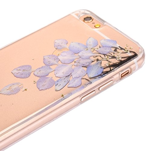 Pour iPhone 6 Plus / 6s Plus, Epoxy Dripping Pressed Real Dried Flower Soft Transparent TPU Housse de protection JING ( SKU : Ip6p2996j ) Ip6p2996e