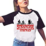 Stranger Things T Shirt Fille, T-Shirt Femme Été Manche Courte Shirt Stranger Things Impression Lettres Tee Shirt Sport Baseball Hauts Tops Chemise Fan de Film