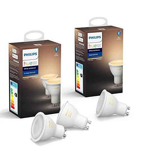 Philips Lighting Hue White Ambiance Faretti LED Intelligenti, Attacco GU10, 6 W, 3 Pezzi, Versione 2019