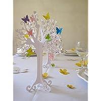 Kommunion  Herzbaum  Tischdeko  mit bunten schmetterlingen   höhe 23cm weiß 1stk mit 10 Schmetterlingen zum selbst ankleben