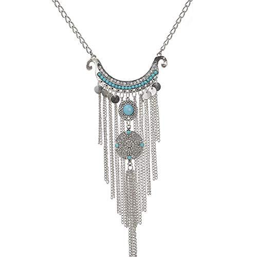 UINGKID Damen Halskette Anhänger Schmuck Mode Retro Lange weibliche Accessoires mehrschichtige Quaste