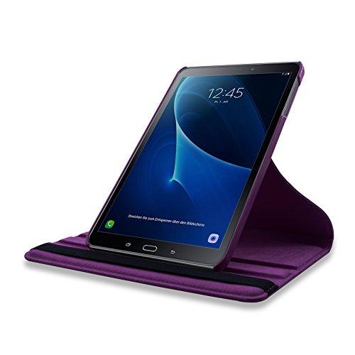 SAVFY Hülle für Samsung Galaxy Tab A 10.1 (2016) T580N/ T585N 360 Grad Drehung Case Schutzhülle Tasche mit Ständerfunktion inkl. Eingabestift & Schutzfolie, lila