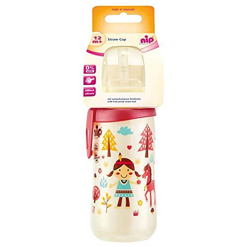nip Strohhalmbecher Straw Cup, 12 Monate, 330 ml, Girl
