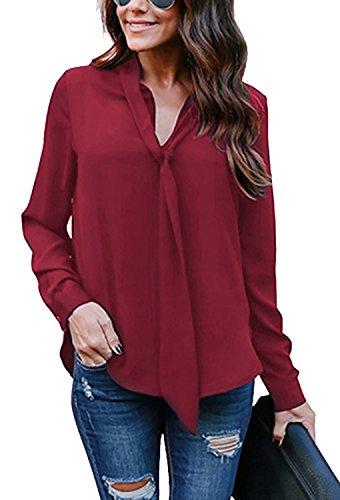 Minetom Damen Bluse Elegant Chiffon V-Ausschnitt Langarm Casual Oberteil Lose Langarmshirt V-Ausschnitt Vintage Tunika Hemd T-Shirt Weinrot DE 36 (Chiffon Floral Tunika)