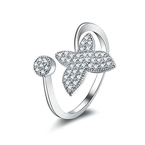 AMDXD Jewelry Sterling Silver Women Promise Customizable Rings Butterfly CZ Size S 1/2,Engraving