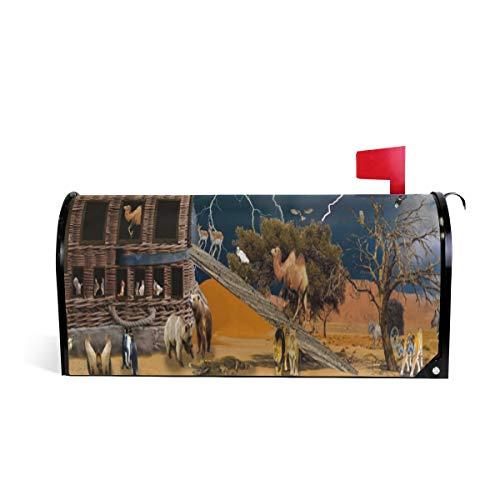(HEOEH Elefant Llama Bär Magnetbriefkasten-Abdeckung für Haus Garten Dekoration Übergröße 63,5 x 5,8 cm 52.6x45.8cm Mehrfarbig)