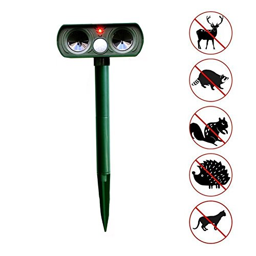 Hilai Cat Repellent Ultrasonic Animal Repeller Solar Battery Operated Motion Activated Outdoor Waterproof Electronic Cat Scarer Deterrent with Ground Stake for Fox, Squirrel, Mice - Yard, Lawn and Farm