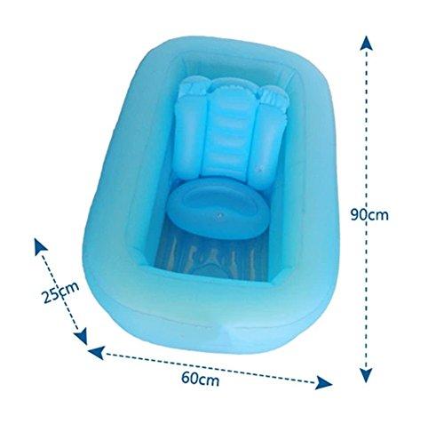 Imagen para Bañera inflable, protección del medio ambiente de la salud Bañera plegable para bebés Bañera para bebés Barril de baño para niños El niño puede sentarse Suministros reclinables de neonatos universales