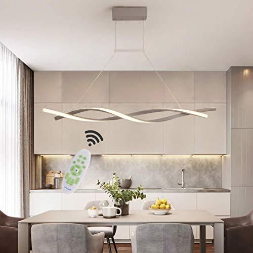36W LED Pendelleuchte Dimmbar Wohnzimmer Lampe Deckenleuchte Modern Design mit Fernbedienung HängelampeMetall Acryl Pendellampe Höhenverstellbar Hängeleuchte Küche Esszimmers Büro Leuchte