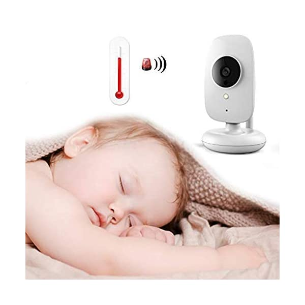 PowCube 2.4 inch Wireless Video Baby Monitor Night Vision Temperature Sensor 2 Way Talk and VOX (White) PowCube Two-Way Audio Communication:You can hear the crying or sounds from your baby immediately with Bmon Wireless Baby Monitor and you can talk back to soothe your baby, or sing a lullaby to comfort your baby! Also you can remotely choose a beautiful lullaby to put your baby to sleep. 2.4 inch LCD Display:This unique baby monitor features a High Resolution Display with 2x zoom magnification which can deliver streaming live view whenever you check in.No need to connect phone or other device, plug and play with 2 power adapters, operate everything from parent end. Temperature Sensor:Temperature detection helps you monitor the room temperature of your baby all day long. 6