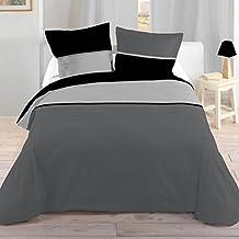 Lovely Casa HP41436015 Bicolor Juego de cama (funda nórdica de 260 x 240 cm y dos fundas de almohada de 63 x 63 cm), color negro