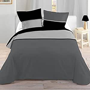 Lovely Casa HP11436015 BICOLOR HC 140X200+1T63X63 100% Coton NOIR 140x200x cm