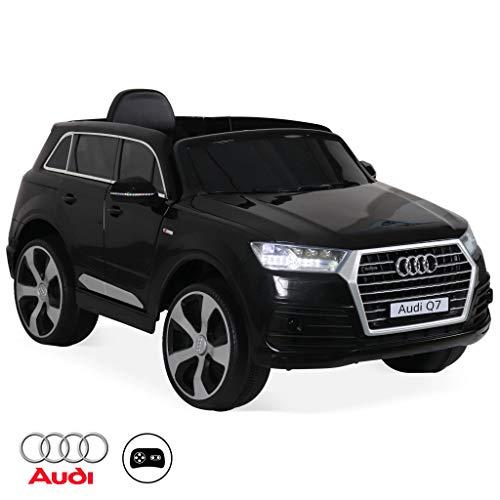 Alice's Garden Audi Q7, Voiture électrique 12V, 1 Place, 4x4 pour Enfants avec autoradio et télécommande (Noir)