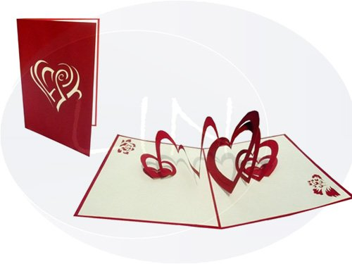 Lin de Pop up Cartes de mariage mariage mariage cartes, invitations, cartes 3D Cartes de vœux mariage, Félicitations, cœur dans Cœur