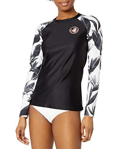 Body Glove Damen Sleek Long Sleeve Rashguard with UPF 50+ Rash Guard Hemd, Schwarz-weiß Blumenmuster, Small -