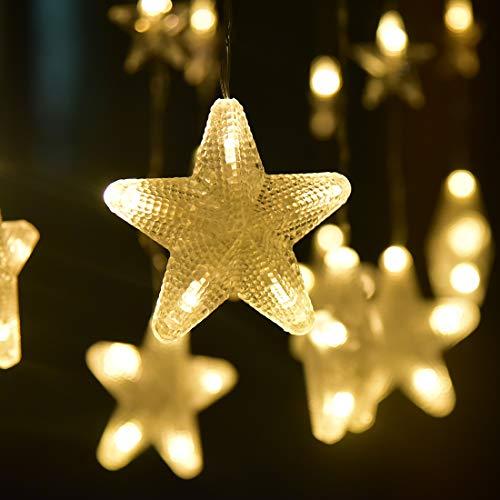 LED Lichterkette Warmweiß 80 Sterne Lichtervorhang 140 LED Lichternetz  Außen Warmweiß Sterne Innen Sternenvorhang Weihnachtsbeleuchtung Für