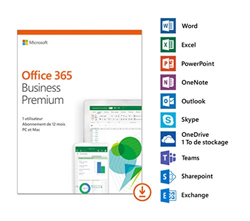 Microsoft Office 365 Business Premium | 1 utilisateur | 5 PC (Windows 10) ou Mac + 5 tablettes + 5 smartphones |1 an | téléchargement