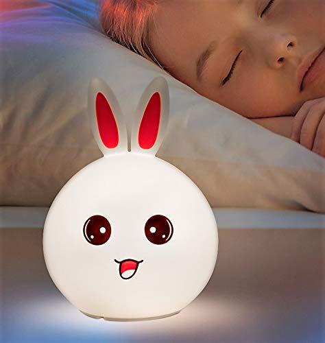 Nachttischlampe für Kinder, nachfüllbar, Hasenform, LED-Licht, Schneefräse, Nachtlicht für Kinder- und Babyzimmer, Silikon-Lampe, Touch-Lampe und Laptop, mit bunten Lichtern (Schneefräse Lampe)