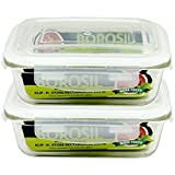 Borosil Glass Containers with Lid(Clear, 640ml) - Pack of 2
