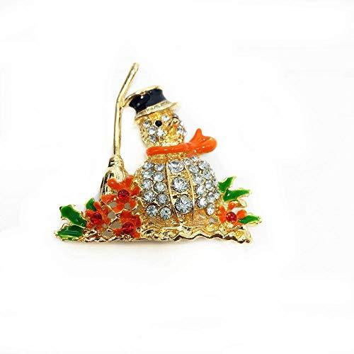 DTZH Brosche Pin Brosche Pins Elegante Temperament Brosche Retro-Farbe Diamant Weihnachten Besen Schneemann Puppe Brosche Brosche Abzeichen (Besen-puppe)
