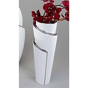 Vaso Decorativo, 26 cm, Bianco Argento