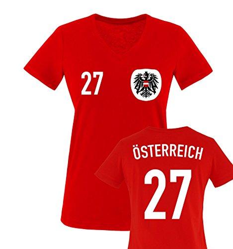Trikot - ÖSTERREICH - 27 - Damen V-Neck T-Shirt - Rot/Weiss-Schwarz Gr. L
