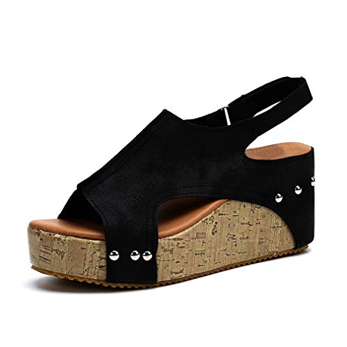 Damen Sandalen Keilabsatz Sommerschuhe Plateau Wedge Schuhe Knöchel Schnalle Peep Toe Elegant High Heels Schwarz Beige Braun Gold Gr.34-43 BK43