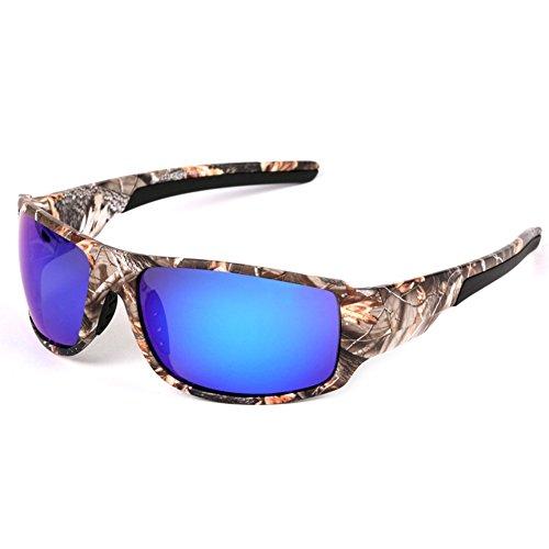 X-DAAO Outdoor-Sport-Sonnenbrille mit Camouflage-Rahmen, Polaroidbrille für Herren, Angeln, Jagd, Bootfahren - Blue Film Polarization